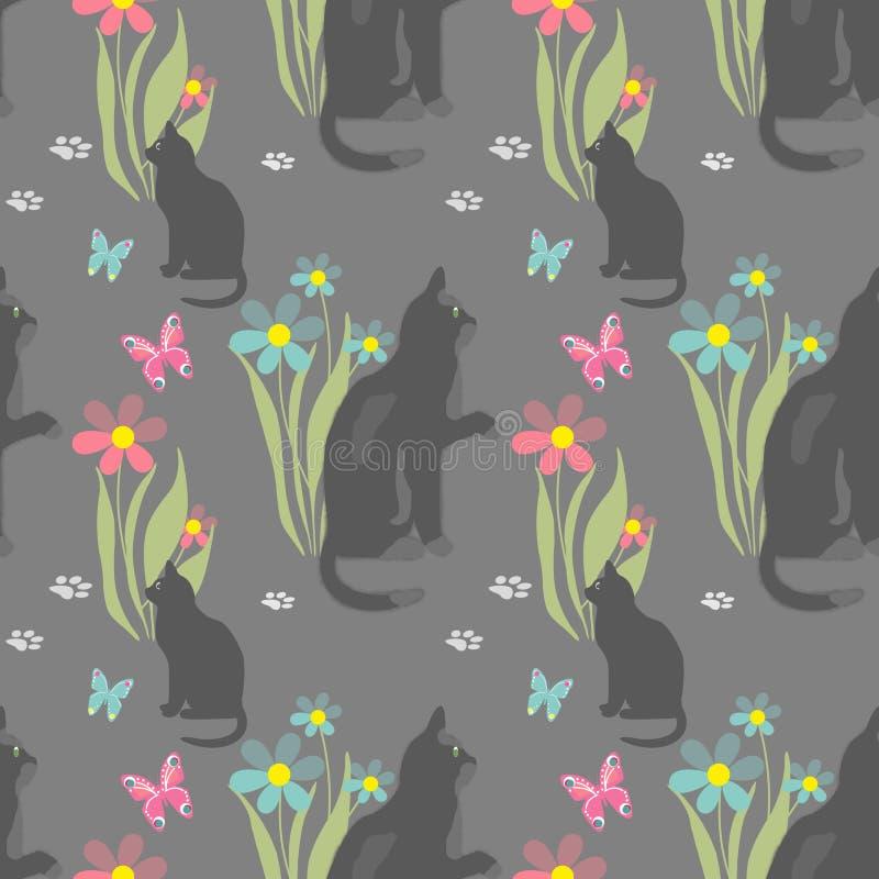 Sömlös modell med katter royaltyfri illustrationer