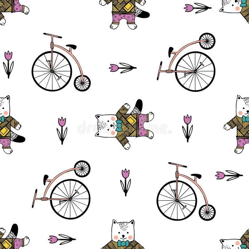 Sömlös modell med katter, cyklar och godisar stock illustrationer