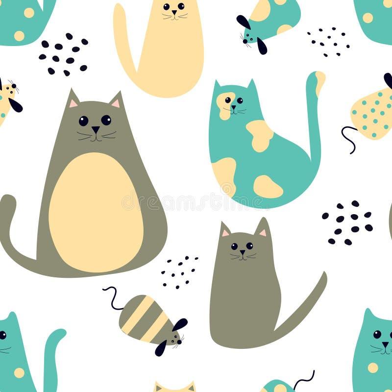 Sömlös modell med katter och möss för tecknad film gulliga stock illustrationer