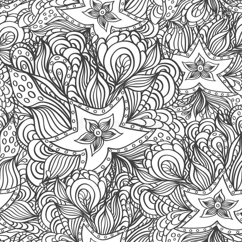 Sömlös modell med klottersjöstjärnor och havsväxter i svart vit för att färga sidan vektor illustrationer