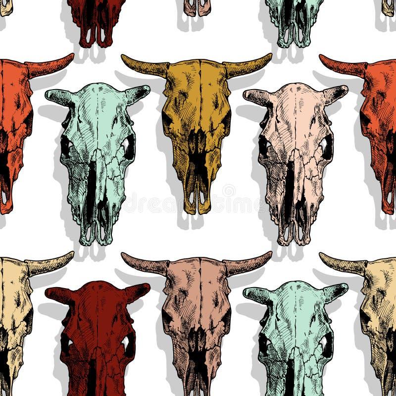 Sömlös modell med ko- och tjurskallen royaltyfri illustrationer