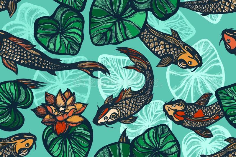 Sömlös modell med koikarpfisken, blommor och sidor av lotusblomman damm Bakgrund i den kinesiska stilen tecknad hand stock illustrationer