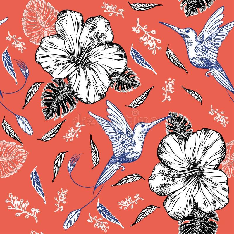 Sömlös modell med kolibrier och tropiska blommor vektor illustrationer