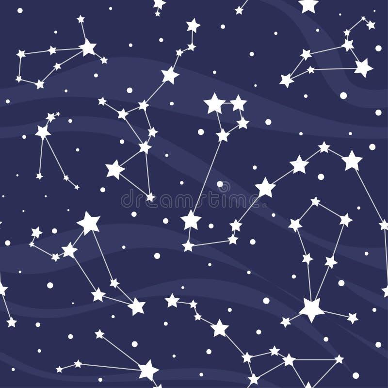 Sömlös modell med konstellationer vektor för stjärnor för bakgrundsillustrationavstånd royaltyfri illustrationer