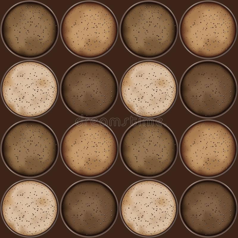 Sömlös modell med koppar av olikt gourmet- kaffe royaltyfri illustrationer