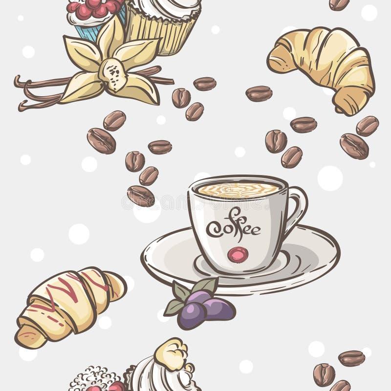 Sömlös modell med koppen kaffe, giffel och frukt vektor illustrationer