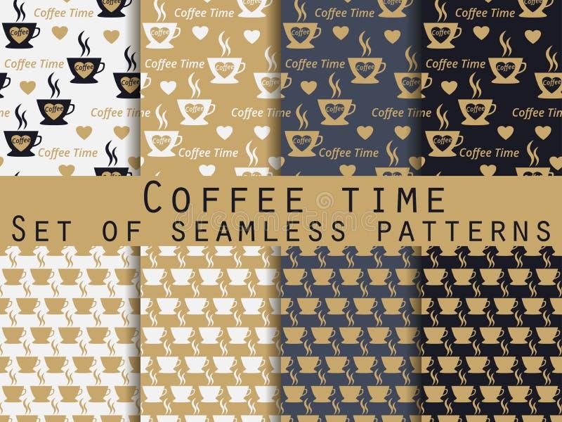 Sömlös modell med koppen kaffe modeller ställde in kaffe mer tid royaltyfri illustrationer