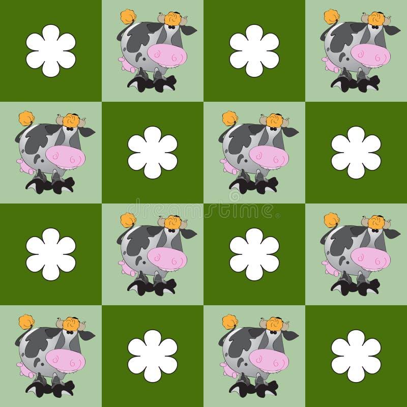 Sömlös modell med kor och blommor vektor illustrationer