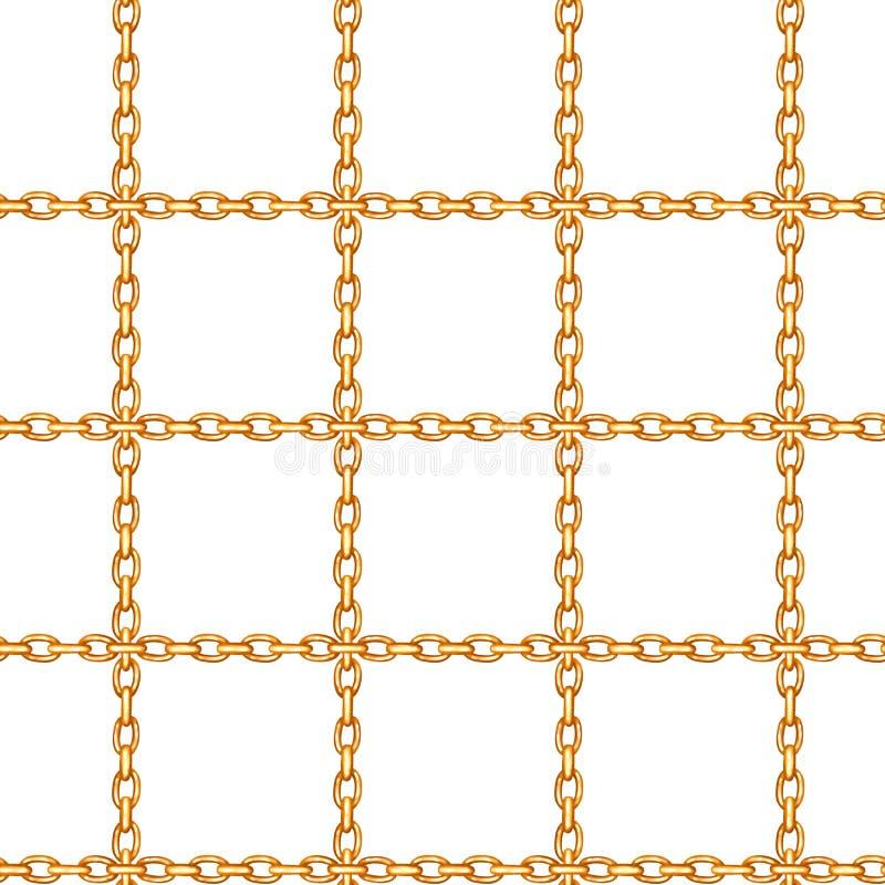 Sömlös modell med korsade guld- kedjor royaltyfri illustrationer