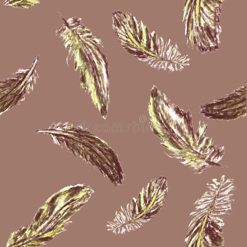 Sömlös modell med kulöra fjädrar vektor illustrationer