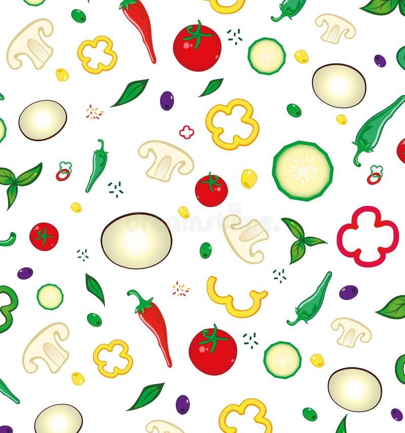 Sömlös modell med kulöra grönsaker royaltyfri illustrationer