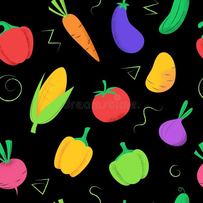 Sömlös modell med kulöra grönsaker på svart royaltyfri illustrationer