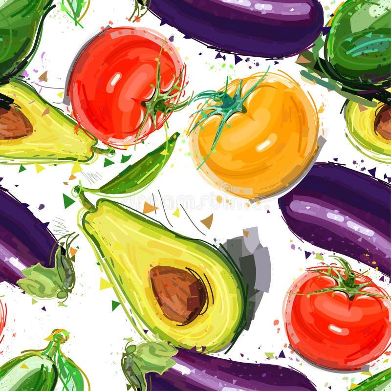 Sömlös modell med kulöra grönsaker vatten för vektor för ny illustration för design ditt naturligt royaltyfri illustrationer
