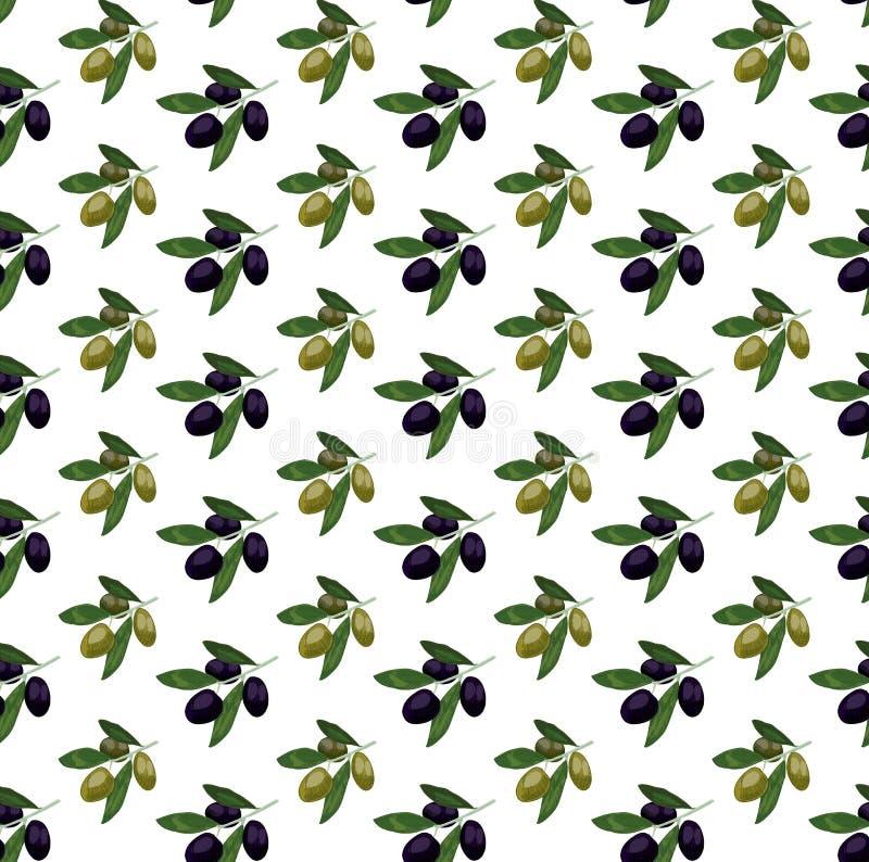 Sömlös modell med kulöra oliv filial tecknad handolivgrön VEKTORillustration, oliv stock illustrationer