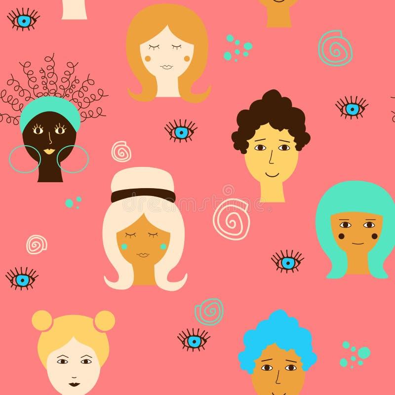 Sömlös modell med kvinnliga framsidor för olik etnicitet på en rosa bakgrund Vektorteckning för internationella kvinnors dag royaltyfri illustrationer