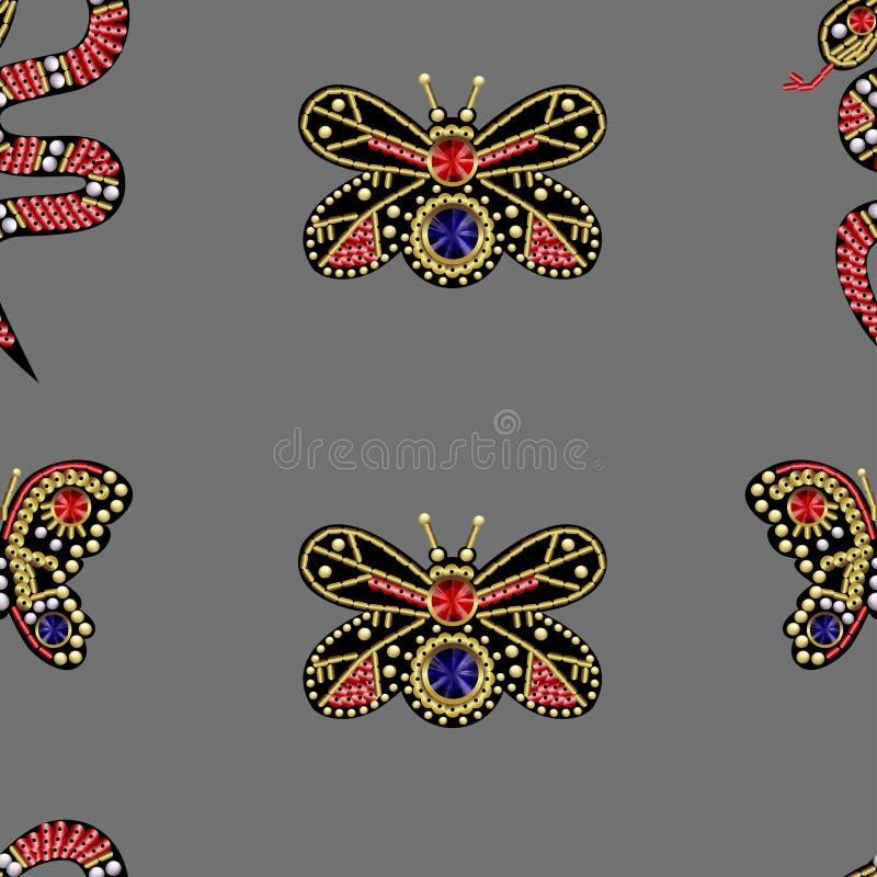 Sömlös modell med lappar med paljetter och pärlor royaltyfri illustrationer