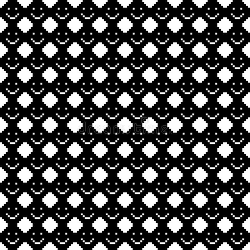 Sömlös modell med leendesymboler vektor för digitalt för familj för konst seamless lyckligt för illustration PIXEL för modell vektor illustrationer