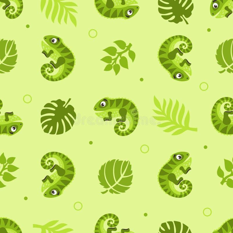 Sömlös modell med leguaner och palmblad vektor illustrationer