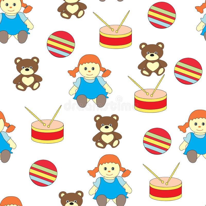 Sömlös modell med leksaker för barn` s Den Vekorny bilden med en docka, valsen, en björn och en boll vektor illustrationer