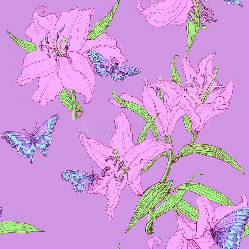 Sömlös modell med liljan och fjärilar royaltyfria bilder