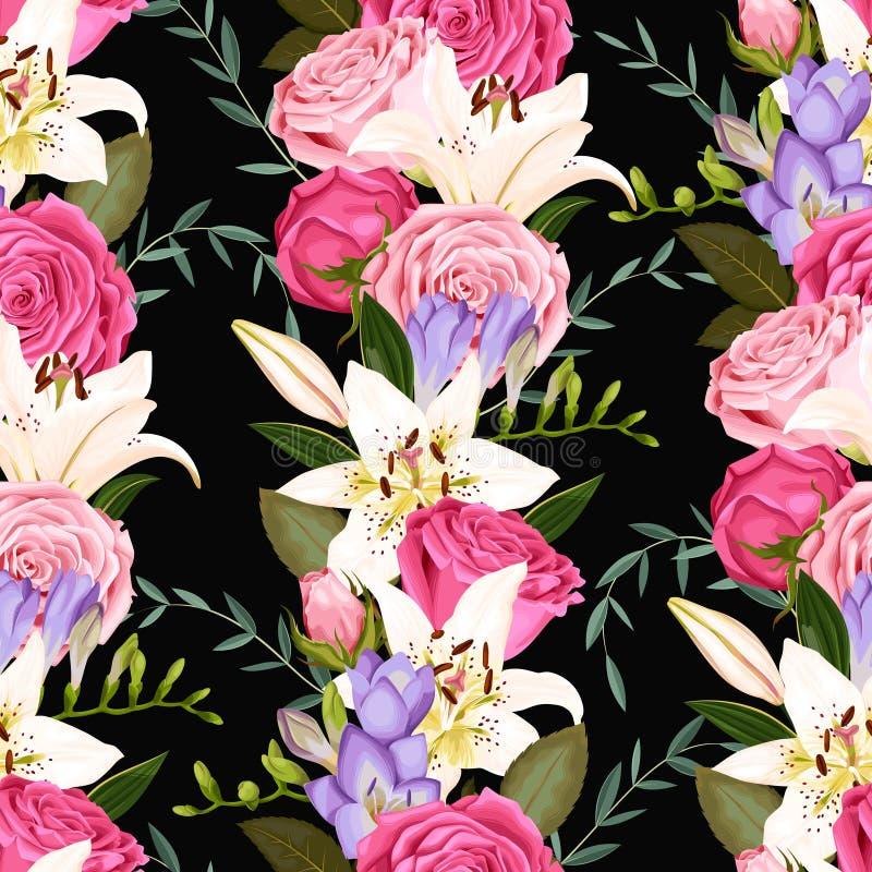Sömlös modell med liljor och rosor royaltyfri illustrationer