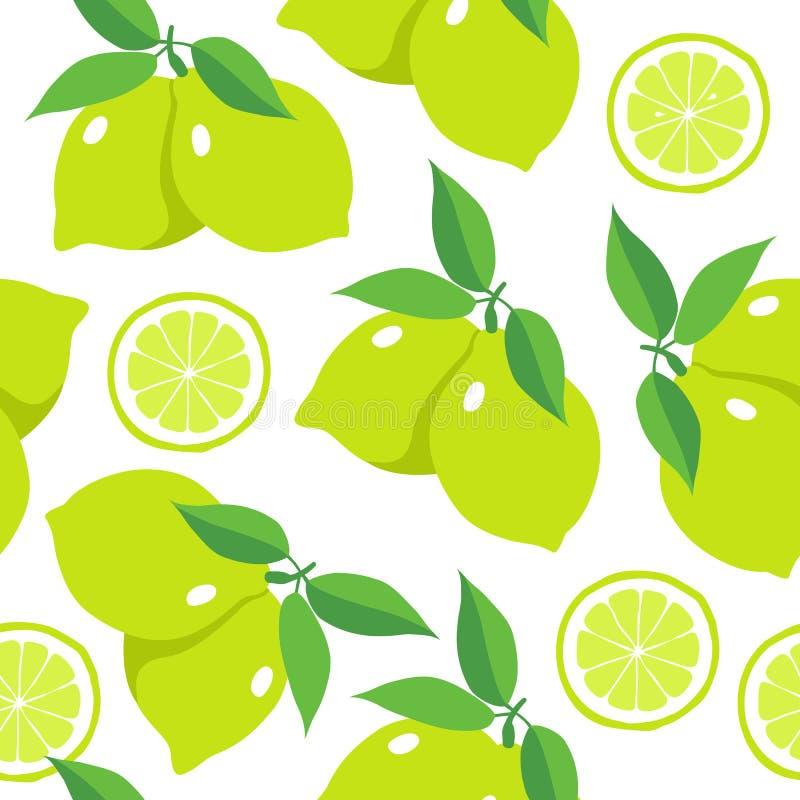 Sömlös modell med limefrukter vektor illustrationer
