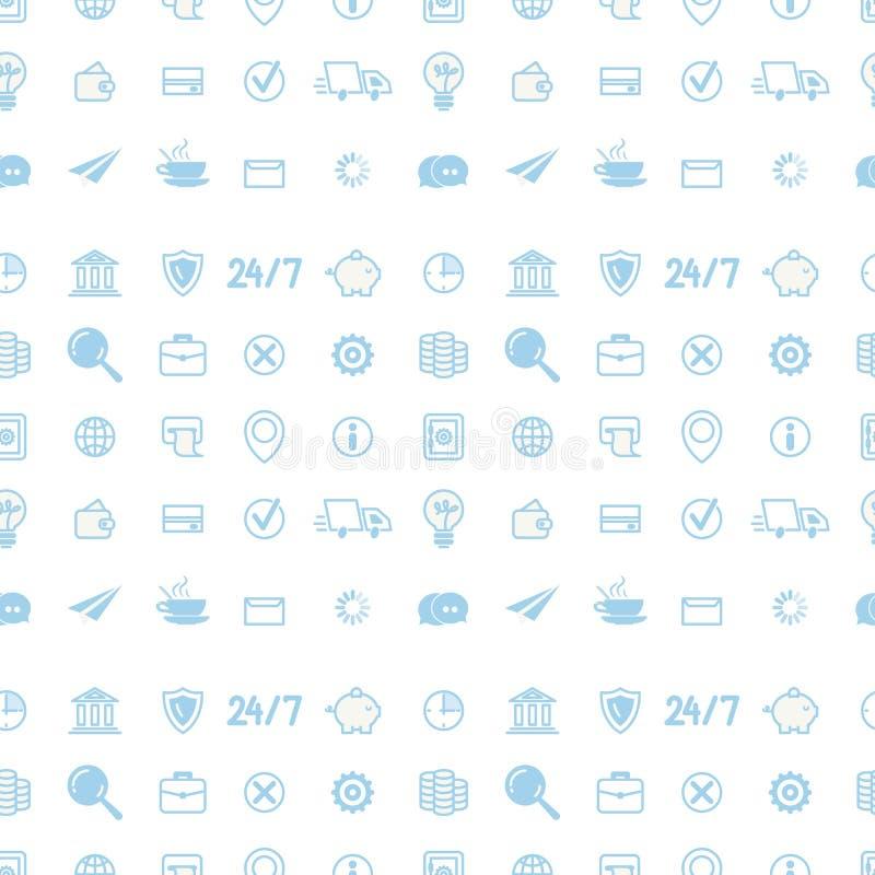 Sömlös modell med linjen Art Business Icons stock illustrationer