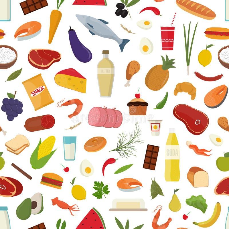 Sömlös modell med livsmedelsbutikmat på på vit bakgrund - frukter, grönsaker, mjölkar eller mejeriprodukter, fisken, kött vektor illustrationer