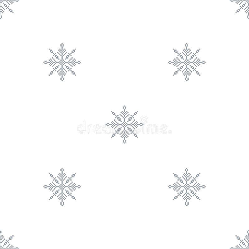 Sömlös modell med ljus julbakgrund för abstrakta snöflingor stock illustrationer