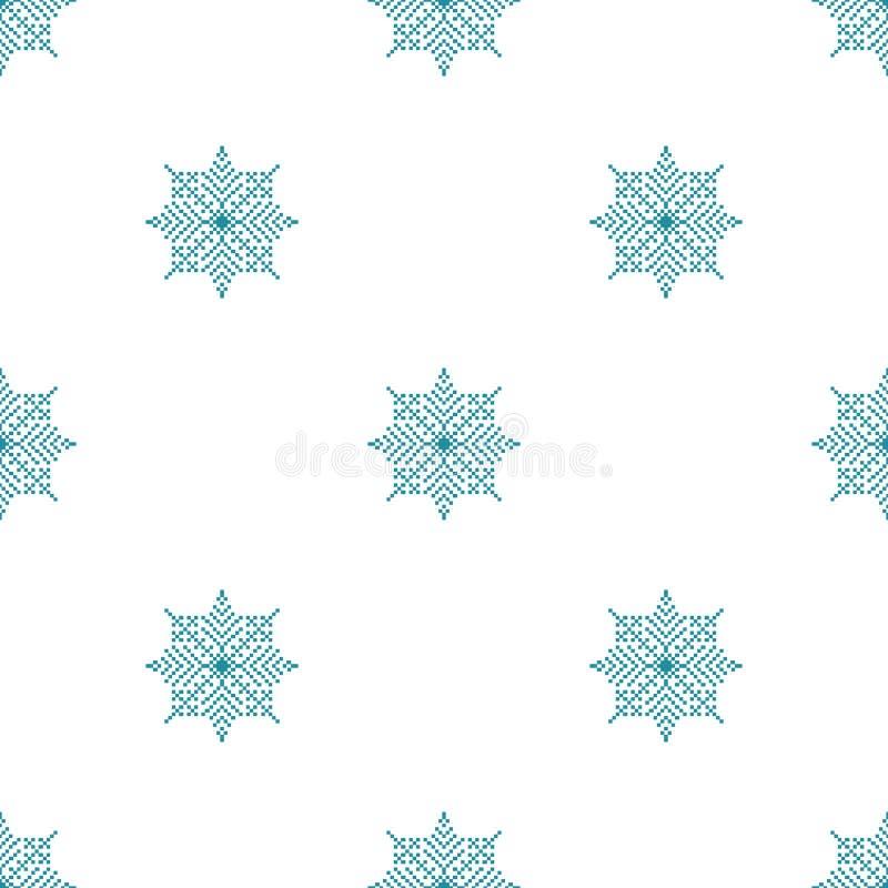 Sömlös modell med ljus julbakgrund för abstrakta snöflingor vektor illustrationer