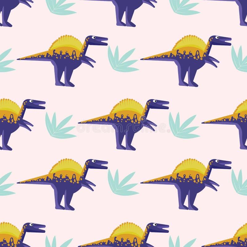Sömlös modell med ljusa dinosaurier stock illustrationer