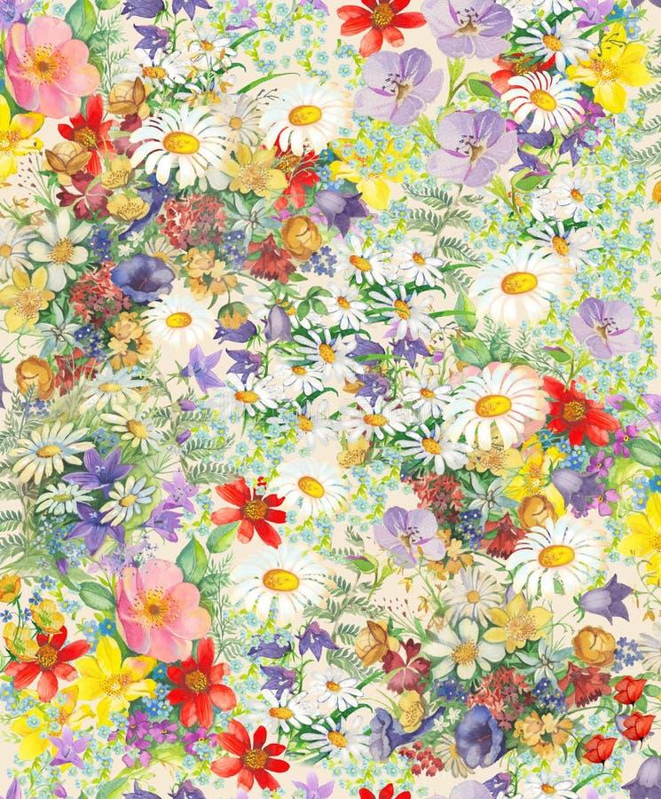 Sömlös modell med ljusa mångfärgade dekorativa blommor och sidor på en vihtebakgrund royaltyfri illustrationer