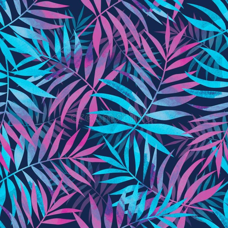 Sömlös modell med ljusa tropiska palmblad på mörkt - blått b royaltyfri illustrationer