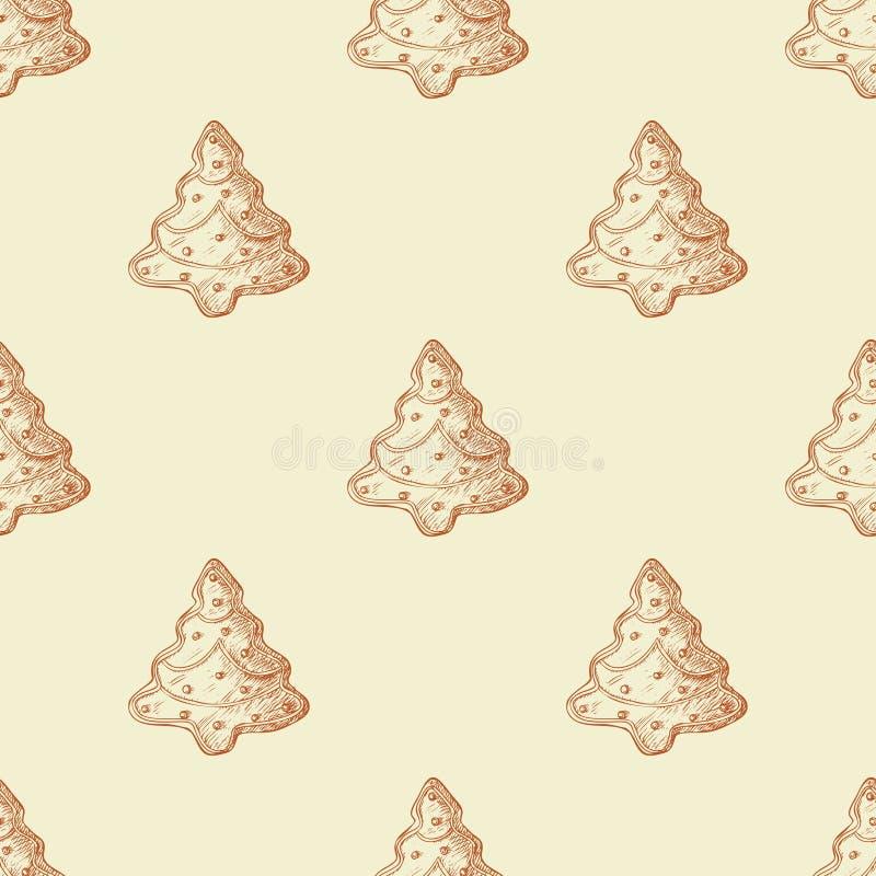 Sömlös modell med ljust rödbrun kakor och den söta godisen skissa stock illustrationer
