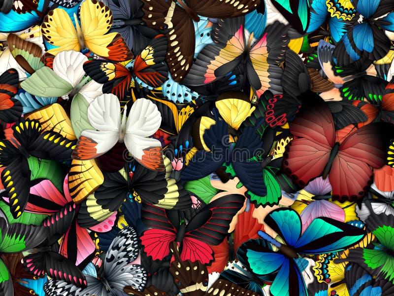 Sömlös modell med lotten av olika butterflys royaltyfria foton