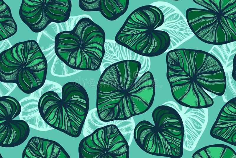 Sömlös modell med lotusblommasidor på turkosbakgrunden damm Bakgrund i den kinesiska stilen tecknad hand vektor illustrationer
