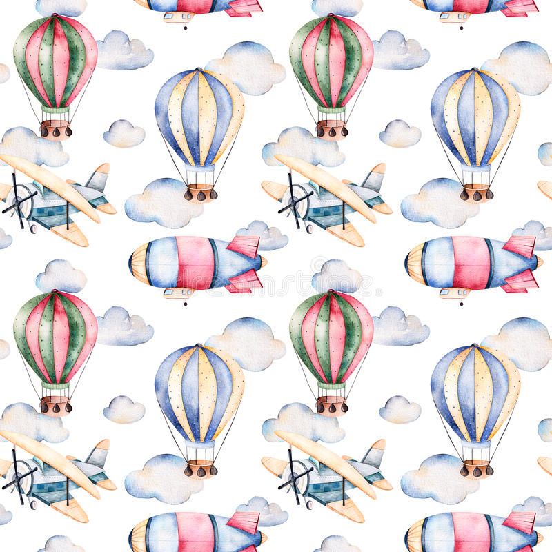 Sömlös modell med luftballonger, luftskeppet, moln och nivån i pastellfärgade färger vektor illustrationer