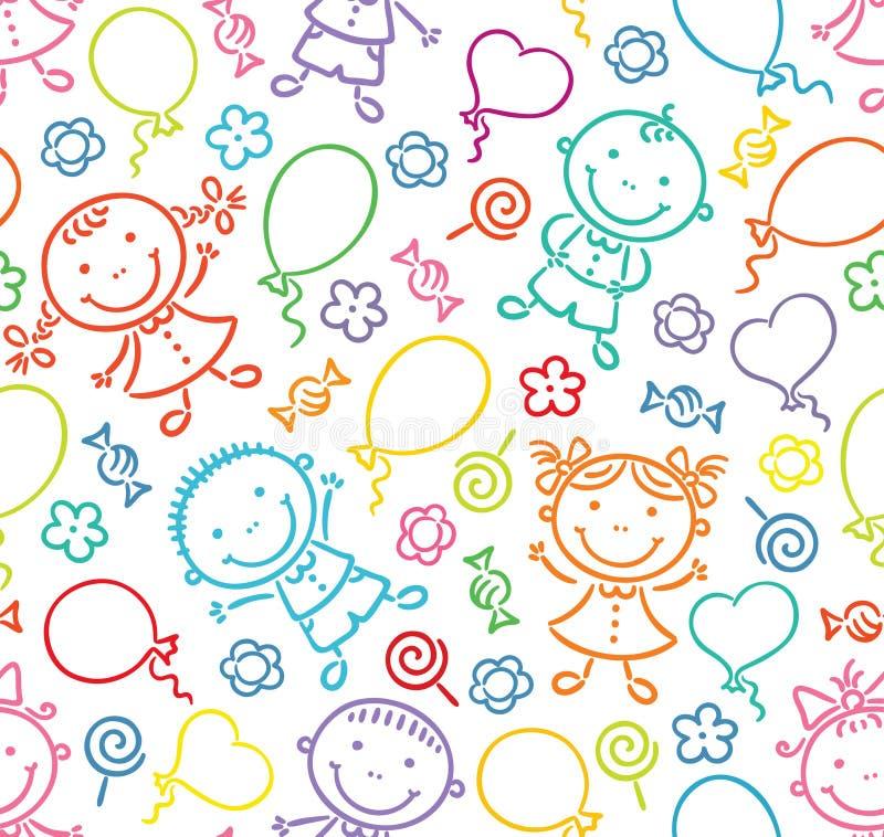 Sömlös modell med lyckliga ungar, ballonger, sötsaker och blommor stock illustrationer