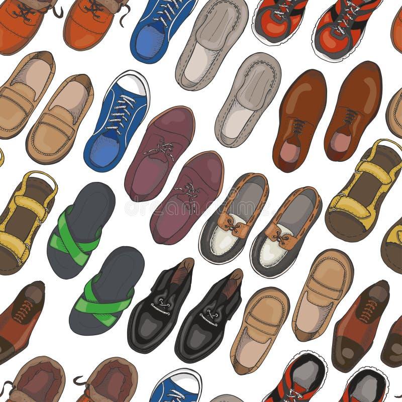 Sömlös modell med mäns skor royaltyfri illustrationer