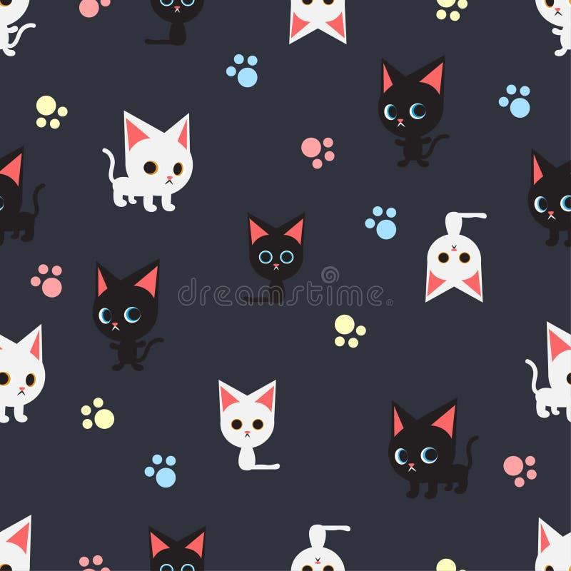 Sömlös modell med många svart katt och vitkatt på mörker - blå bakgrund, vektor stock illustrationer