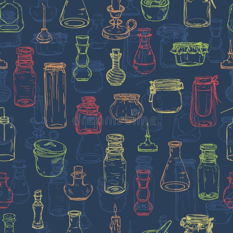 Sömlös modell med magiska flaskor Tom alkemi skorrar för drycker vektor illustrationer
