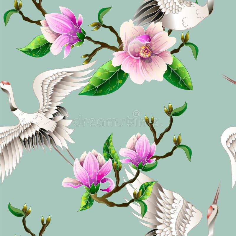 Sömlös modell med magnoliablommor och japanska vita kranar vektor stock illustrationer