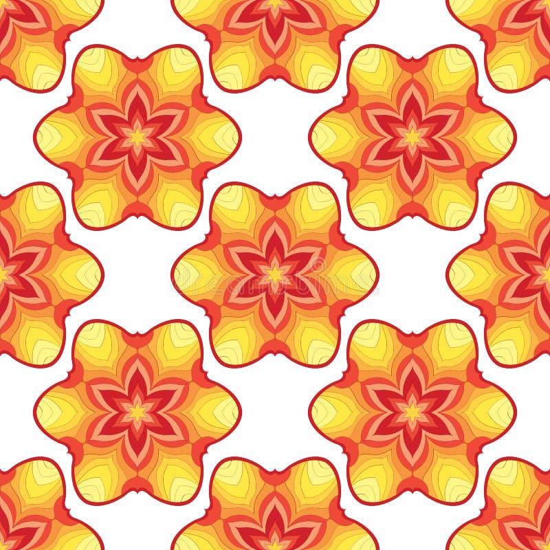 Sömlös modell med mandalaen för tryckdesign Dekorativ färgkonstillustration Utsmyckat geometriskt abstrakt begrepp Gränsar uppsät stock illustrationer