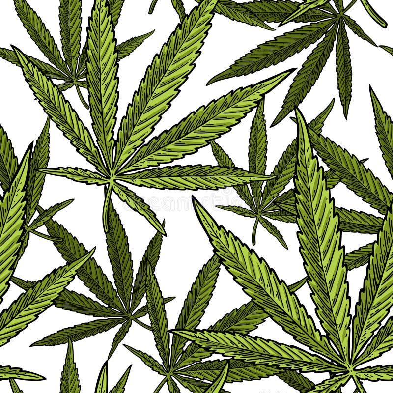 Sömlös modell med marijuanabladet Svart gravyrillustration för tappning vektor illustrationer