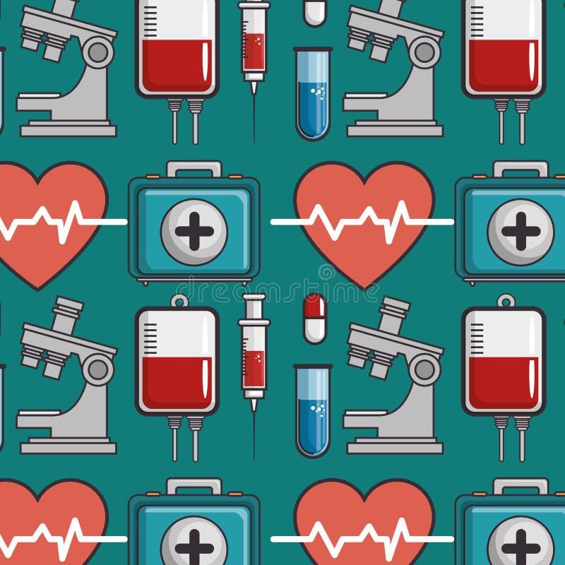Sömlös modell med medicinska beståndsdelar royaltyfri illustrationer