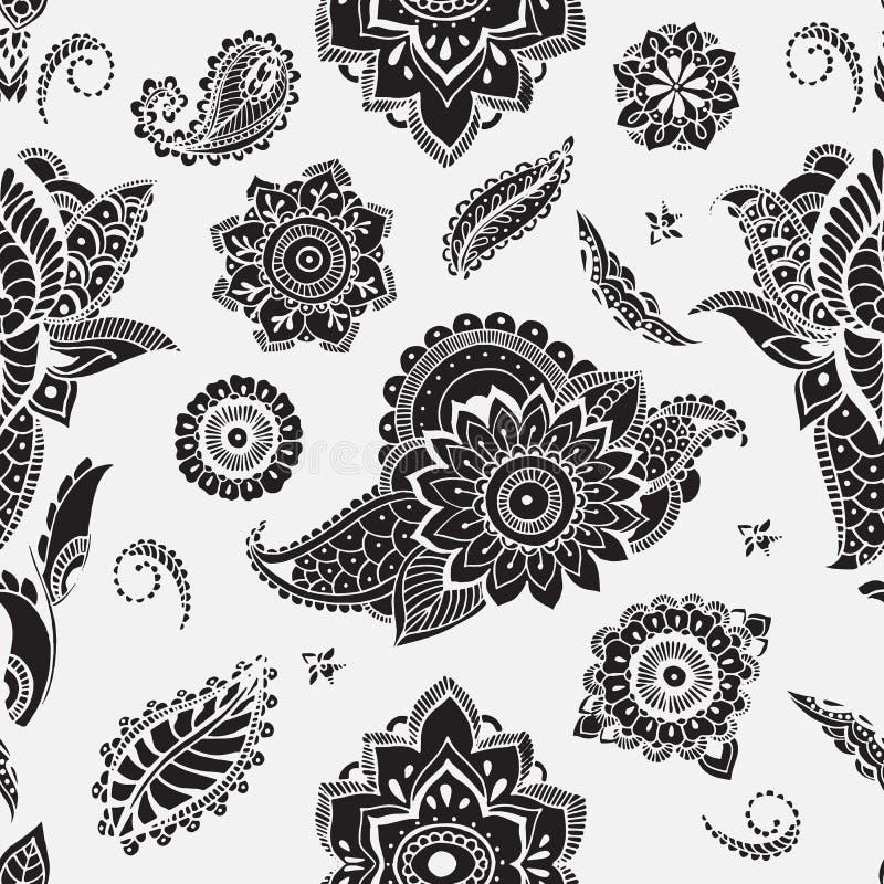 Sömlös modell med mehndibeståndsdelar Blom- tapet med stiliserade blommor, sidor, indier paisley Vektorsvart och vektor illustrationer