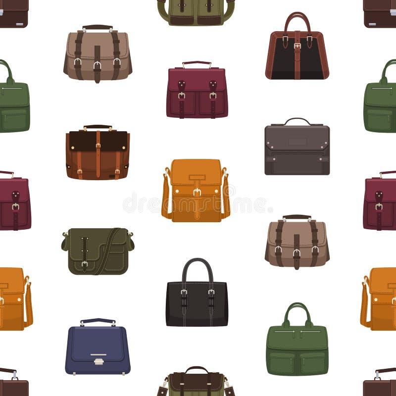 Sömlös modell med moderiktiga mäns påsar eller handväskor av olika stilar på vit bakgrund Bakgrund med innegrej royaltyfri illustrationer