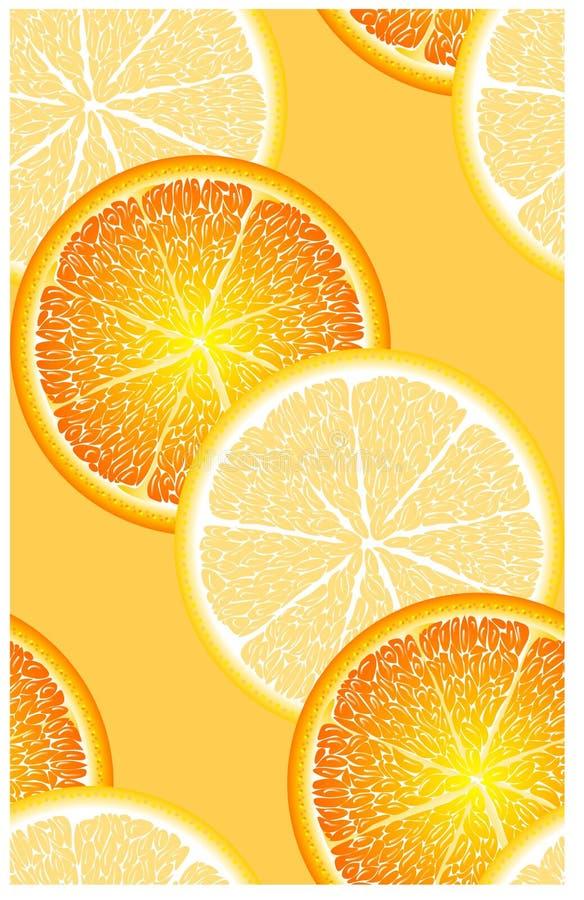 Sömlös modell med mogna, ljusa, saftiga, färgrika stora skivor av citrus limefrukt, citron, apelsin, grapeprut vektor illustrationer