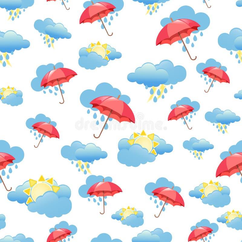Sömlös modell med moln, regn och paraplyet Tapet f?r barnrum fantastiskt illustrationv?der f?r bakgrund royaltyfri illustrationer