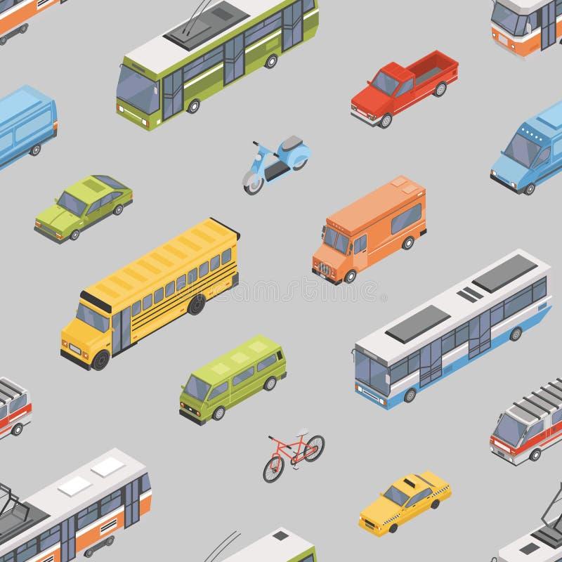 Sömlös modell med motorfordon av olika typer - bil, sparkcykel, buss, spårvagn, trådbuss, minivan, pickup stock illustrationer